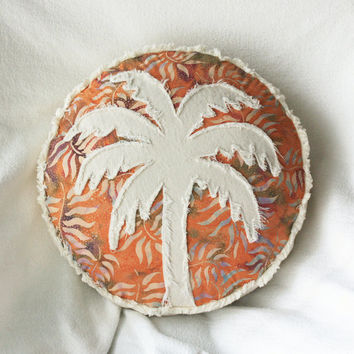 Palm tree boho pillow, tropical orange green and plum leaf batik and distressed natural denim round pillow