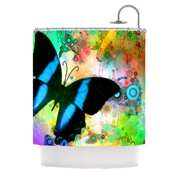 "alyZen Moonshadow ""Colorful Blue"" Multicolor Butterfly Shower Curtain"