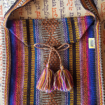 Small colorful woven Mexico backpack | festival backpack | rucksack | adventure bag | lapurplee
