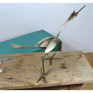 Vintage Roadrunner Art Piece Made From Old Silverware . OOAK Metal Sculpture . Southwestern Bird Folk Art . Found Object Art