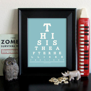 Sylvia Plath Eye Chart, This Is The After Hell I See The Light, 8 x 10 Giclee Print Buy 2 GET 1 FREE