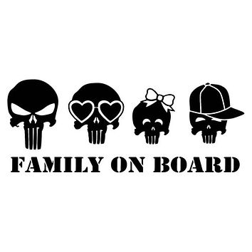 Family On Board Skull Car Decal Funny Vinyl Sticker Black Silver