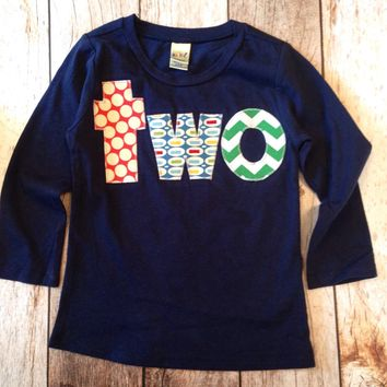 lowercase two Long Sleeve Birthday Shirt Navy with red dots pez kelly green chevron for 2 year old boys 2nd birthday second theme cake favor
