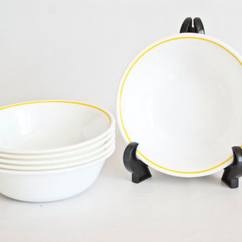 Vintage Corelle APRIL Yellow Rim Soup Bowls, Corning Replacement Bowl, Bright Yellow 1970s Cereal Bowls (SET of 6), Made in USA