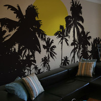 Vinyl Wall Decal Sticker Tropical Night Sunset #376