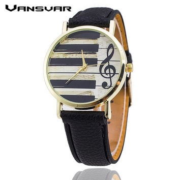 Vansvar Fashion Women Quartz Watch Vintage Leather Strap Piano Keys Watch Casual Dress Watch Watch Relojes Mujer 1499