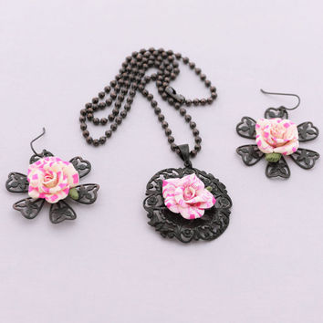Rose Necklace Earrings Set, Striped Roses Jewelry Set, Handmade Polymer Clay Rose Jewelry, Artisan Jewelry, Pink Rose Earrings, Matching Set