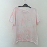 Womens Baby Pink and White Hipster Tie Dyed Ombre T-Shirt
