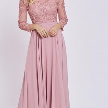 Long dress pink scoop full sleeves floor length a line dresses women appliques back lace up formal gown