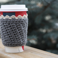 Crochet Coffee Cup Cozy / Sleeve - Grey with Lace Trim (Ready to Ship)