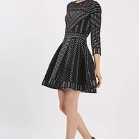 Geometric Pattern Fit And Flare Knitted Dress | Topshop