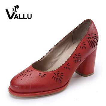 2017 Genuine Leather Women Pumps Shoes High Heels Sheepskin Vintage Handmade Women Sho