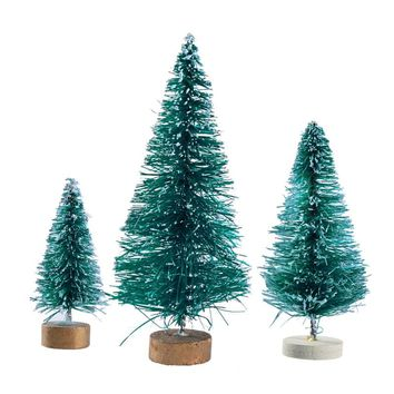 32 Pcs Miniature Frosted Sisal Christmas Trees Snow Pine Trees Bottle Brush Trees with Wooden Bases