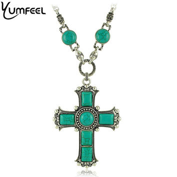 Turquoise-Style Cross Pendants Necklace