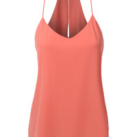 LE3NO Womens Double Layered Chiffon Racerback Tank Top