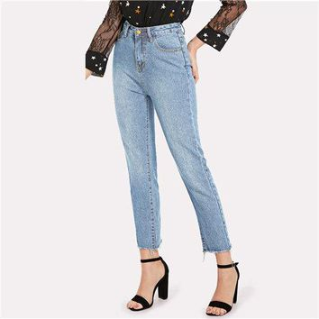 Blue Casual Solid Frayed Hem Denim Jeans Autumn Ripped High Waist Jeans Female Pants Spring Boyfriend Jeans