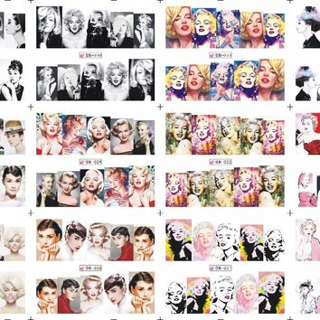 12Sheets=1Lot BN25-36 Marilyn Monroe nail art sticker decals accessories nail art water transfer nail stickers for sticker decal