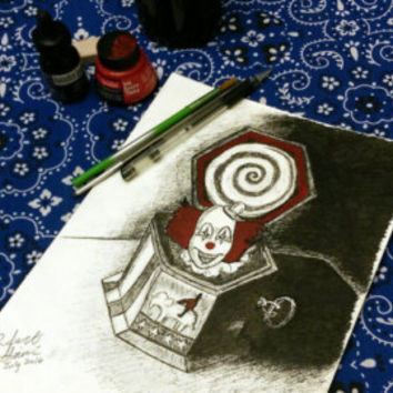 Creepy Clown Music Box Original Horror Movie Artwork from The Conjuring.