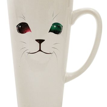 Adorable Space Cat 16 Ounce Conical Latte Coffee Mug by TooLoud