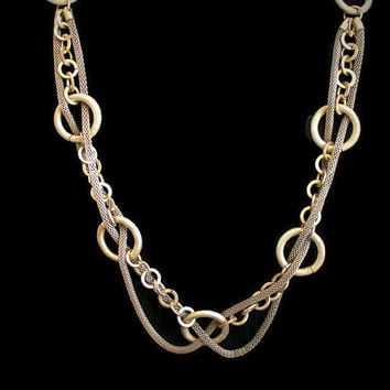 1960's Multi Strand Link and Mesh Rope Necklace, In Antique Silver Tone