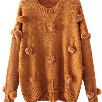 Yellow Pom Pom Detail Knit Sweater