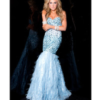 Jasz Couture 2013 Prom Dresses - Strapless Blue Rhinestoned Mermaid Gown - Unique Vintage - Prom dresses, retro dresses, retro swimsuits.