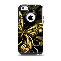 The Vibrant Gold Butterfly Outline Skin for the iPhone 5c OtterBox Commuter Case