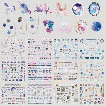 12 Designs Pure Unicorn Starry Sticker Nail Decorations DIY Manicure Tips Decals Water Transfer Tattoos Xmas Gift CHBN637-648
