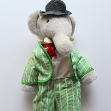 Vintage Babar the Elephant Stuffed Animal by Eden Toys 1977