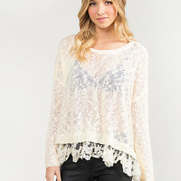 Meshy Lace Trim Knit Sweater - Off White - Large