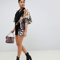 ASOS DESIGN romper with cape and scarf print detail   ASOS