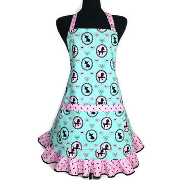 Retro Kitchen Apron for Women , Poodles and  Chihuahuas on Light Aqua with Pink Ruffle