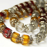 25 Pcs - 6mm Czech Glass Cathedral Tube Beads - Ruby/Topaz/Crystal Matte Mix With Silver - Glass Beads - Jewelry Supplies