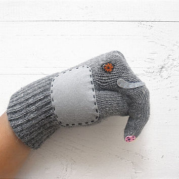 VALENTINE'S Gift, Elephant Gloves, Elephant, Puppet Gloves, Gray Gloves, Grey Gloves, Animal Lovers, Special Gift, Lover Gift, Valentine's
