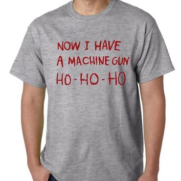HO-HO-HO Now I Have A Machine Gun Print Men T shirt Casual Funny tshirt For Man Top Tee Funny Hipster Gray BZ203-52