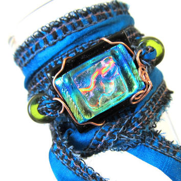 Beaded Sari Silk Ribbon and Fused Glass Wrap Bracelet - Copper Wire Wrapped Fused Dichroic Glass Jewelry, Handmade in US Eco Friendly