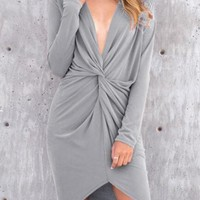 Grey Irregular Ruffle Pleated Plunging Neckline Long Sleeve Fashion Mini Dress