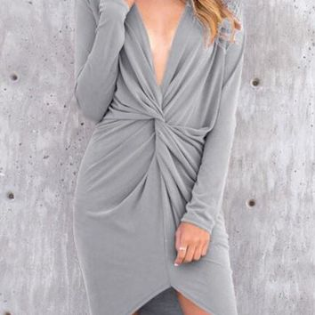Streetstyle  Casual Grey Irregular Ruffle Pleated Plunging Neckline Long Sleeve Fashion Mini Dress