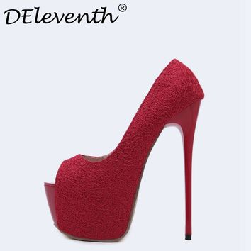 DEleventh Stylish Women Red Wedding Shoes Peep Toe Stiletto Super Platform High Heels Shoes Woman Pumps Black 16cm Zapatos Mujer