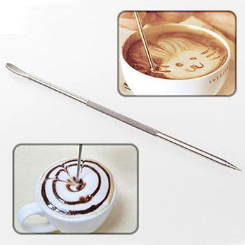 Stainless Steel Fancy Stitch Coffee Latte Art Needle Hook Home Kitchen Tools HU
