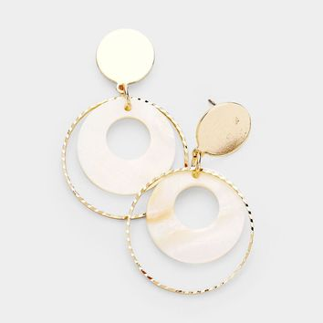 Mother Of Pearl Accented Geometric Earrings
