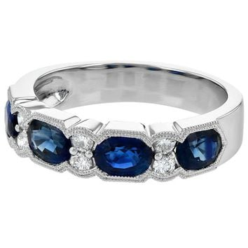 Ben Garelick Vintage Style Stackable Blue Sapphire Diamond Band