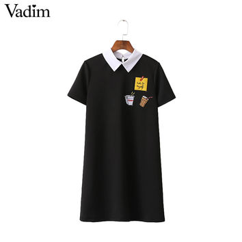 Women cute sticker letters patched dress note fast food drink pattern black short sleeve turn down collar casual dress QZ2705