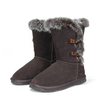 ZLYC Ladies Fur Trimmed Leather Mid Calf Boots Faux UGG Boots