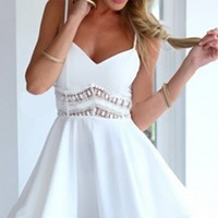 White Spaghetti Strap V Neck Cut Out Crochet Lace Waist Skater Circle A Line Flare Mini Dress