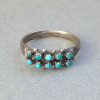 OLD PAWN Native American Indian Turquoise RING Petit Point Snake Eye Double Row Sterling Band, Vintage Zuni Jewelry Rings, Size 5.5