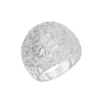 Silver with Rhodium Finish 21.5-4.4mm Textured Spa rkle Sandblasted Graduated High Dome Fancy Ring