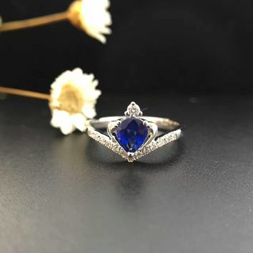 18K Gold 0.675ct Natural Sapphire Women Ring with 0.134ct Diamond Setting 2016 New Fine Jewelry Wedding Band Engagement