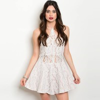 Shop The Trends Women's All-over Lace Design Spaghetti Strap Halter Neck Romper