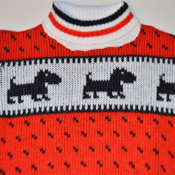 70s Red White Black Scottie Dog Turtleneck Sweater Youth S 4